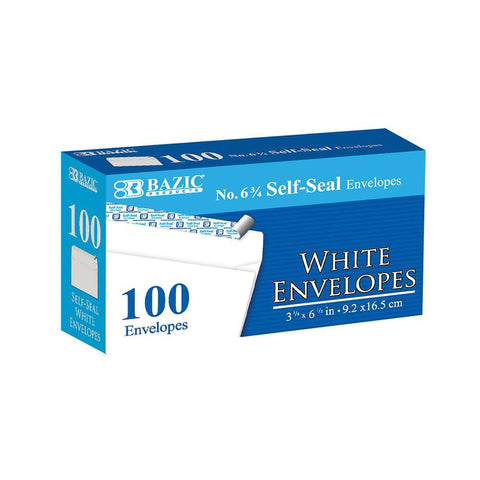 BAZIC #6 3/4 Self-Seal White Envelope (100/Pack)