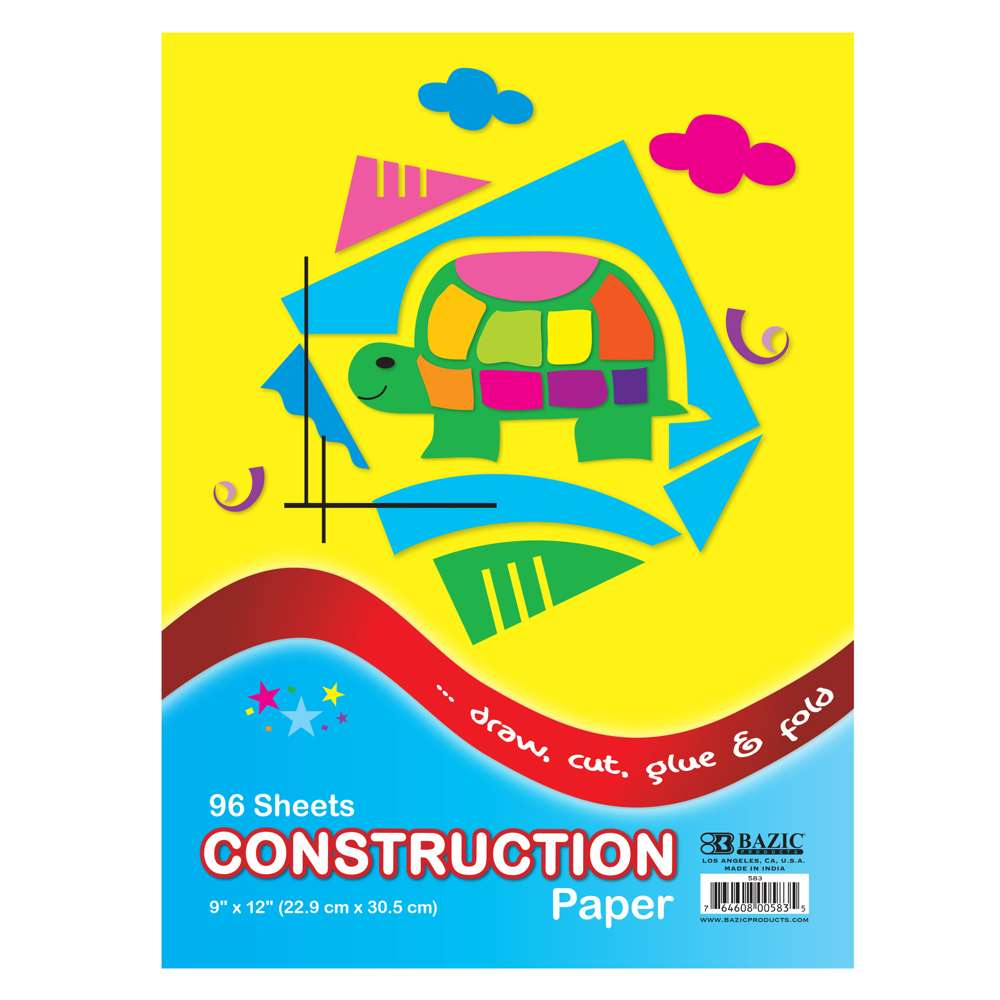 "96 Ct. 9"" X 12"" Construction Paper - Bazicstore"