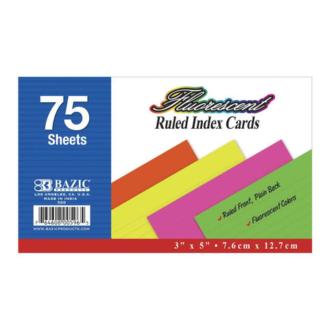"75 Ct. 3"" X 5"" Ruled Fluorescent Colored Index Card"