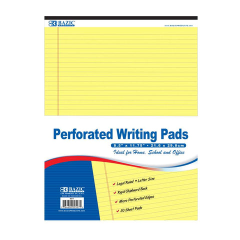 "BAZIC 50 Ct. 8.5"" X 11.75"" Canary Perforated Writing Pad"