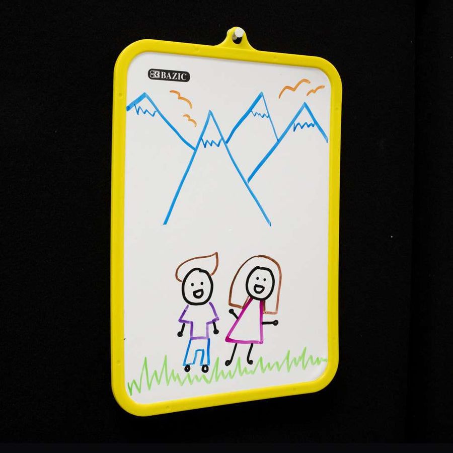 "7.4"" X 10.3"" Double Sided Dry Erase Learning Board w/ Marker - Bazicstore"
