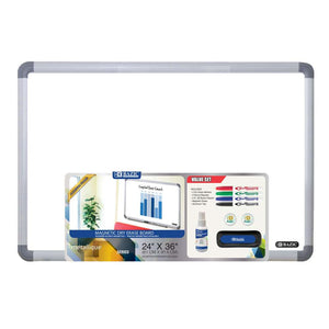 "24"" x 36"" Aluminium Frame Magnetic Dry Erase Board Value Pack - Bazicstore"