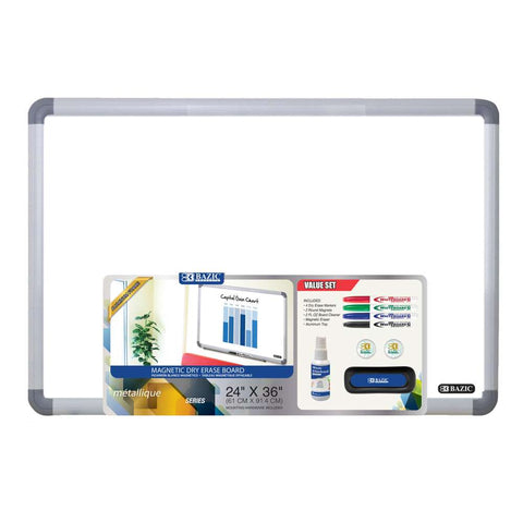 "BAZIC 24"" x 36"" Aluminium Frame Magnetic Dry Erase Board Value Pack"