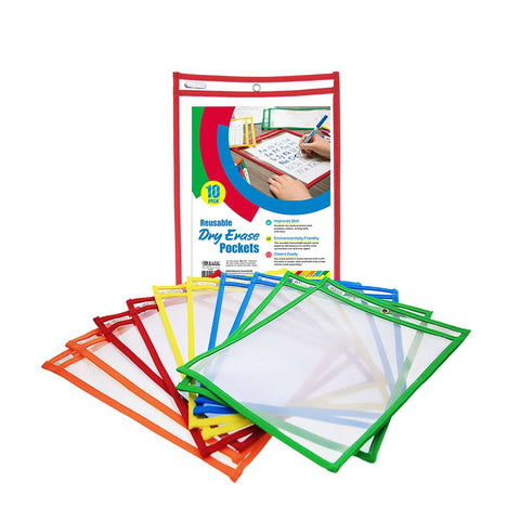 BAZIC Reusable Dry Erase Pockets (10/Pack)
