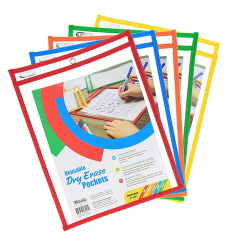 BAZIC Reusable Dry Erase Pockets
