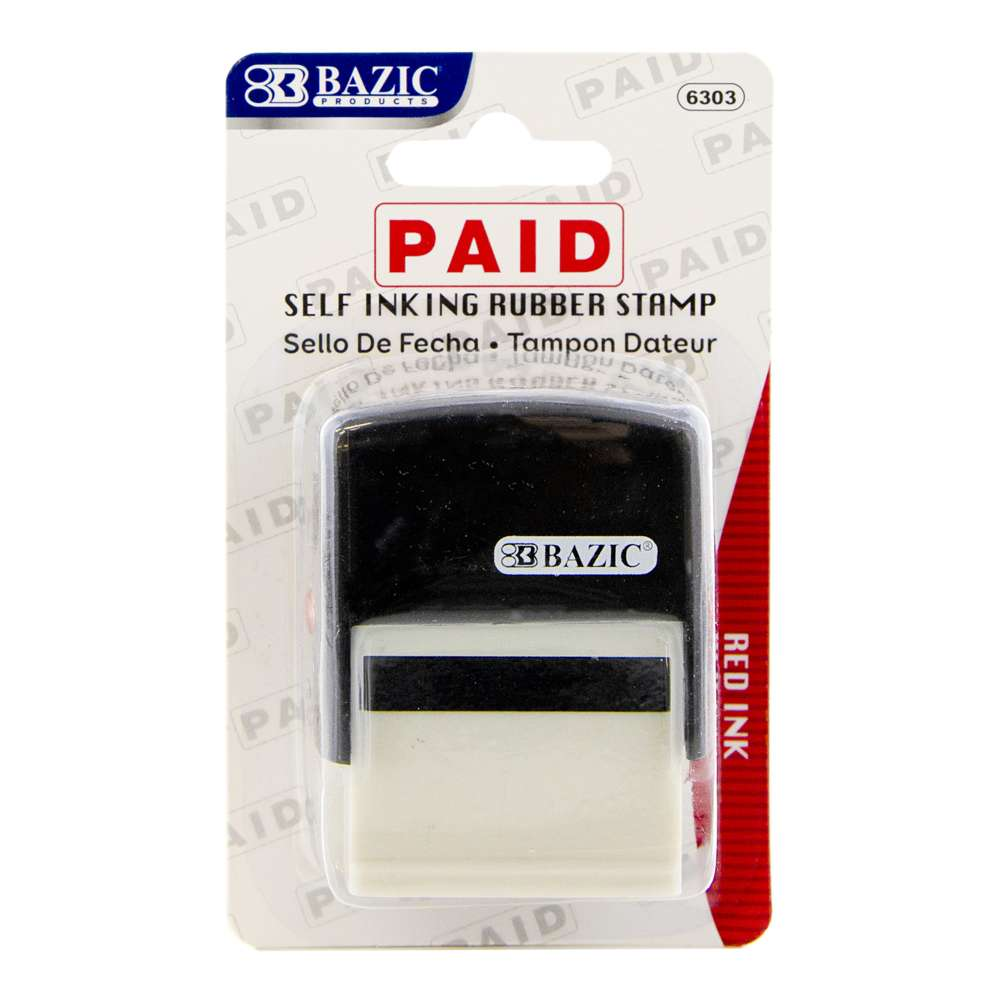Paid Self Inking Rubber Stamp (Red Ink) - Bazicstore