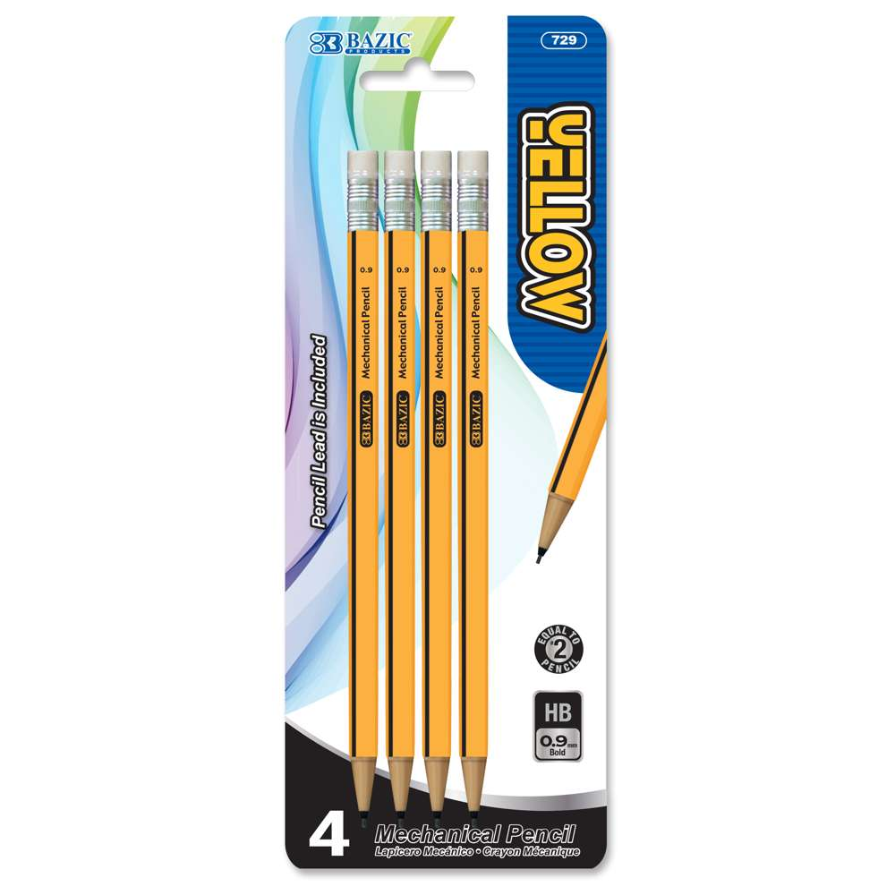 Yellow 0.9mm Mechanical Pencil (4/Pack)