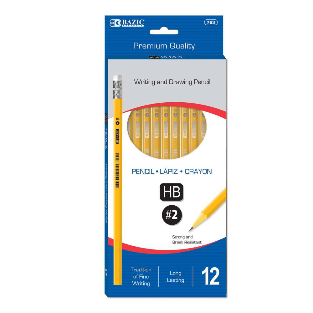 #2 Premium Yellow Pencil (12/Pack) - Bazicstore
