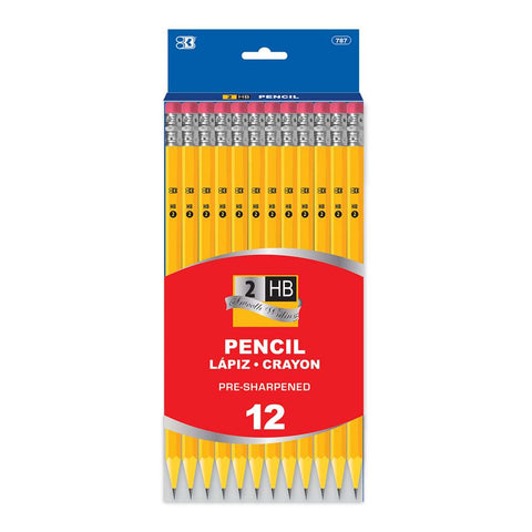 #787 BAZIC Pre-Sharpened #2 Yellow Pencil (12/Pack)