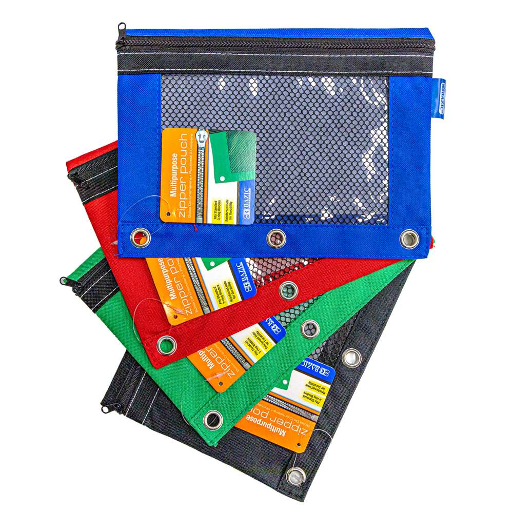 3-Ring Pencil Pouch w/ Mesh Window - Bazicstore