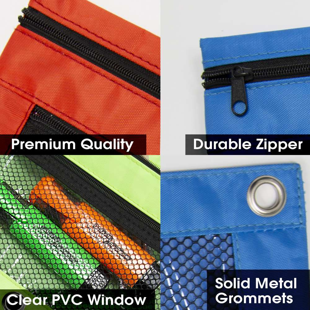 Sinzip 10 Pack 3 Ring Pencil Pouch with Zippers 10 Pack Assorted Colors Double Pockets Fabric Binder Pencil Bags with Clear and Mesh Window