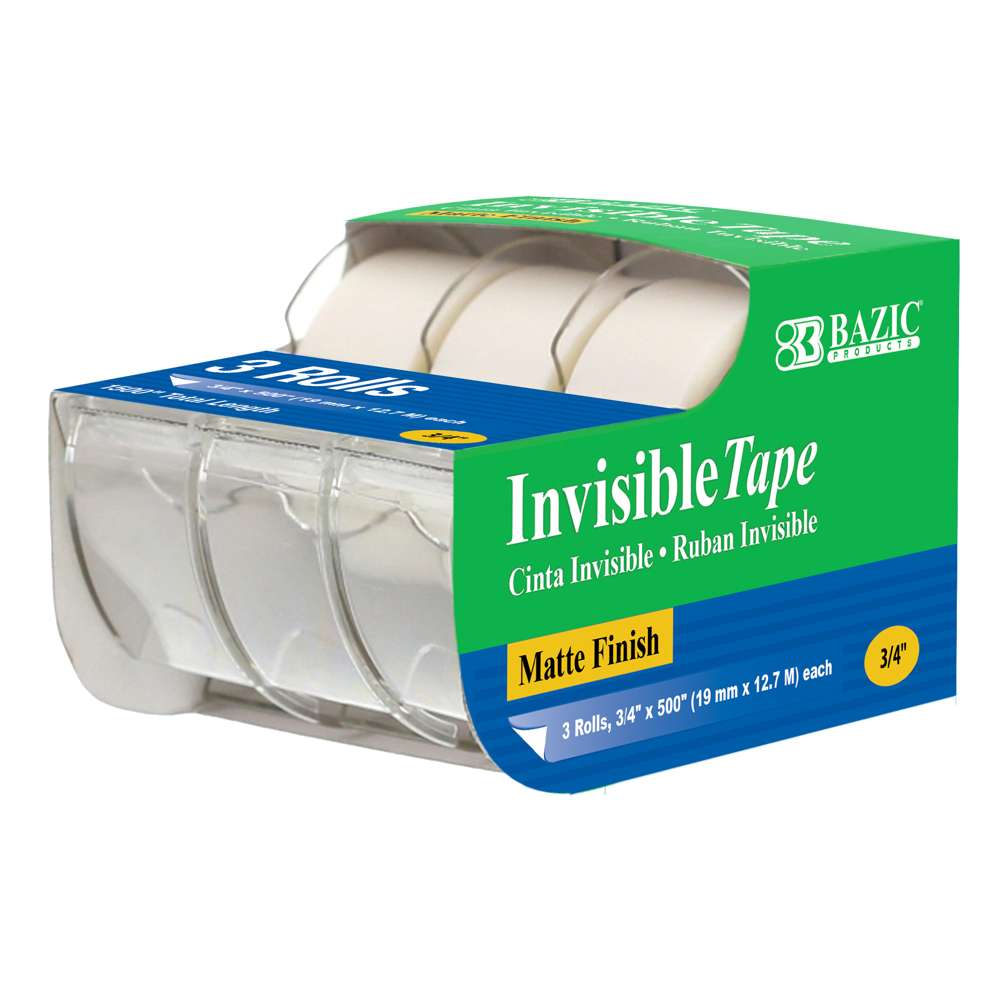 "3/4"" X 500"" Invisible Tape (3/Pack) - Bazicstore"