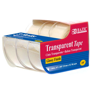 "3/4"" X 500"" Transparent Tape (3/Pack) - Bazicstore"