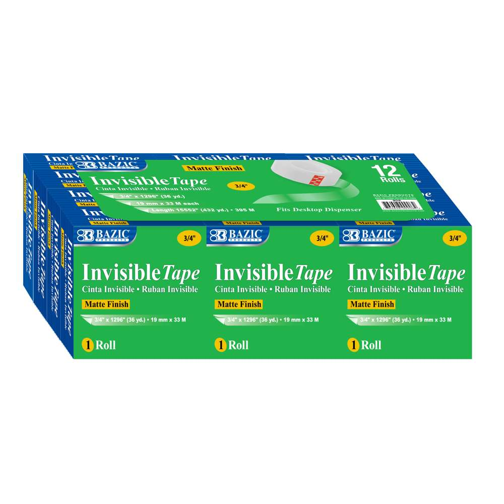 "3/4"" X 1296"" Invisible Tape Refill (12/Pack) - Bazicstore"