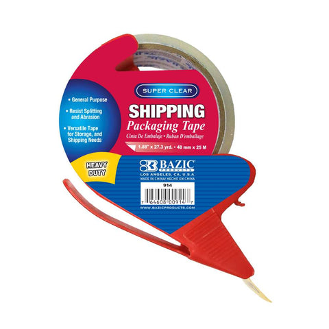 "BAZIC 1.88"" x 27.3 Yards Super Clear Heavy Duty Packing Tape with Dispenser"