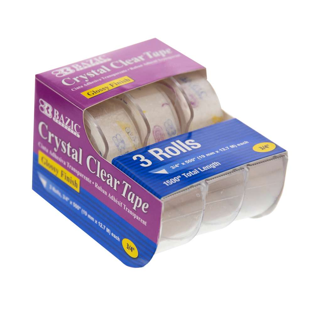 "3/4"" X 500"" Crystal Clear Tape (3/Pack) - Bazicstore"