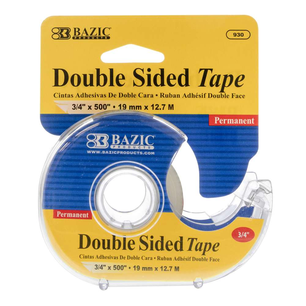 "3/4"" X 500"" Double Sided Permanent Tape w/ Dispenser - Bazicstore"