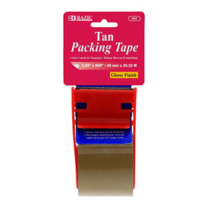 "1.88"" X 800"" Tan Packing Tape w/ Dispenser"
