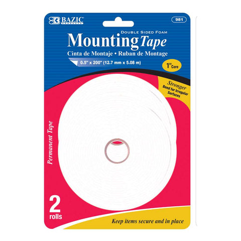"BAZIC 0.5"" X 200"" Double Sided Foam Mounting Tape (2/Pack)"
