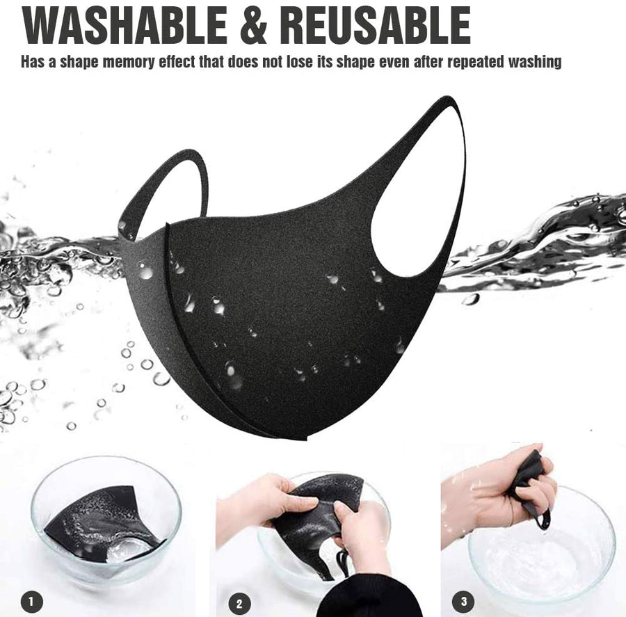 Black Protective Stretch Fabric Reusable & Washable Face Mask - Bazicstore