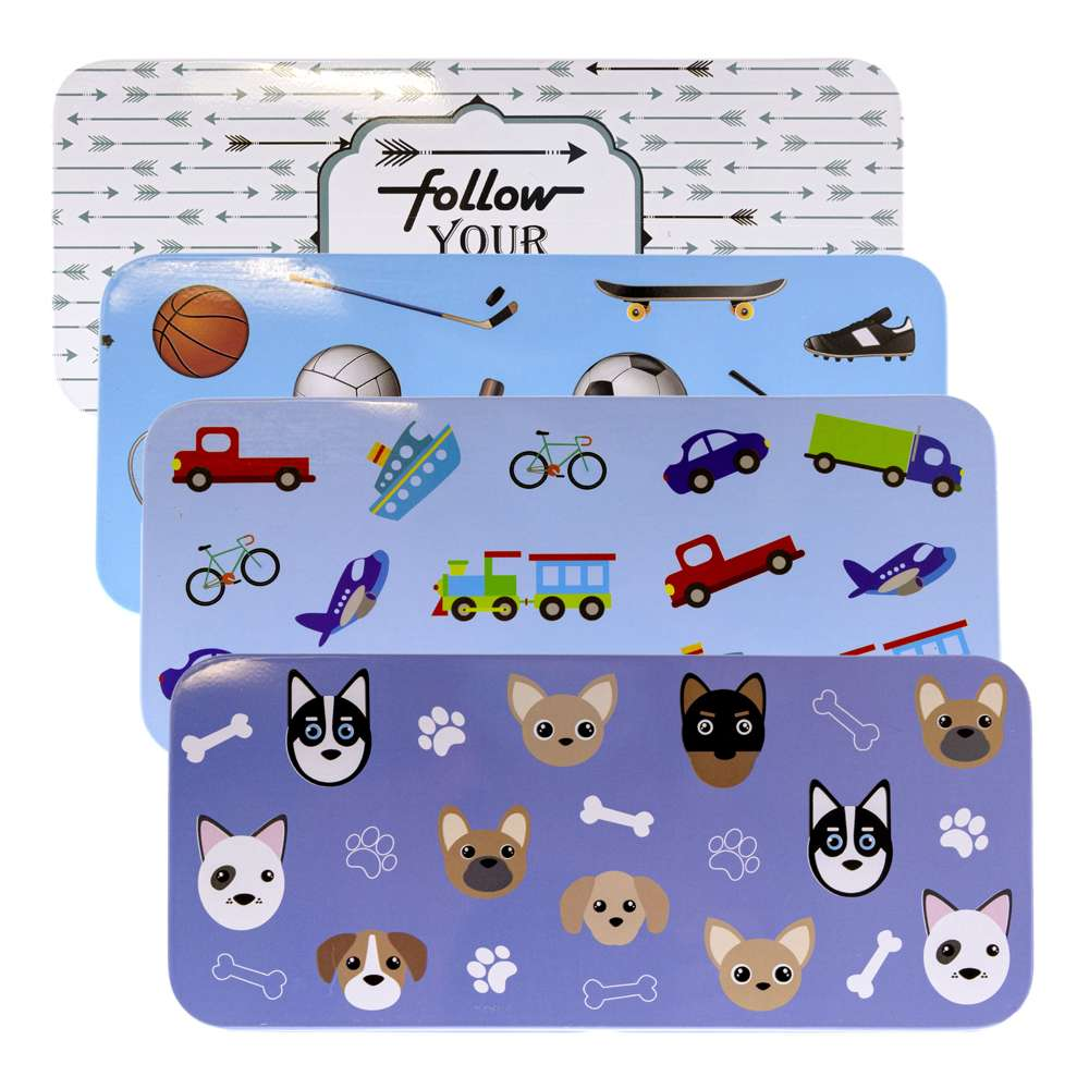 "Tin Pencil Box 7.5""x3.25""x1"", Dog Cars Sports - Bazicstore"