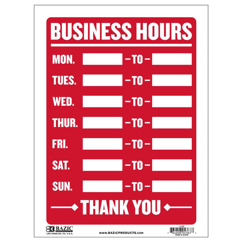 "12"" X 16"" Business Hours Sign"