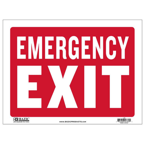 "12"" X 16"" Emergency Exit Sign"