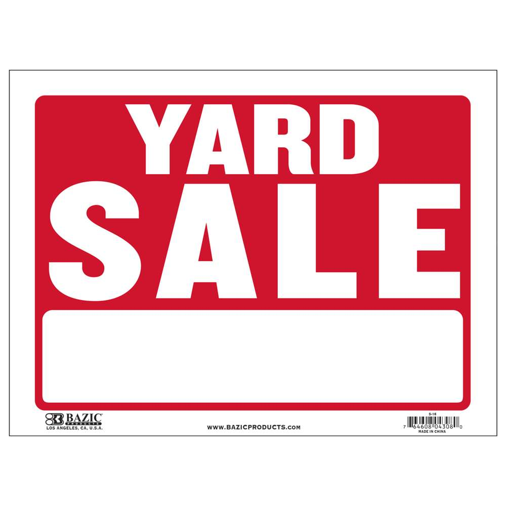 "BAZIC 9"" X 12"" Yard Sale Sign"