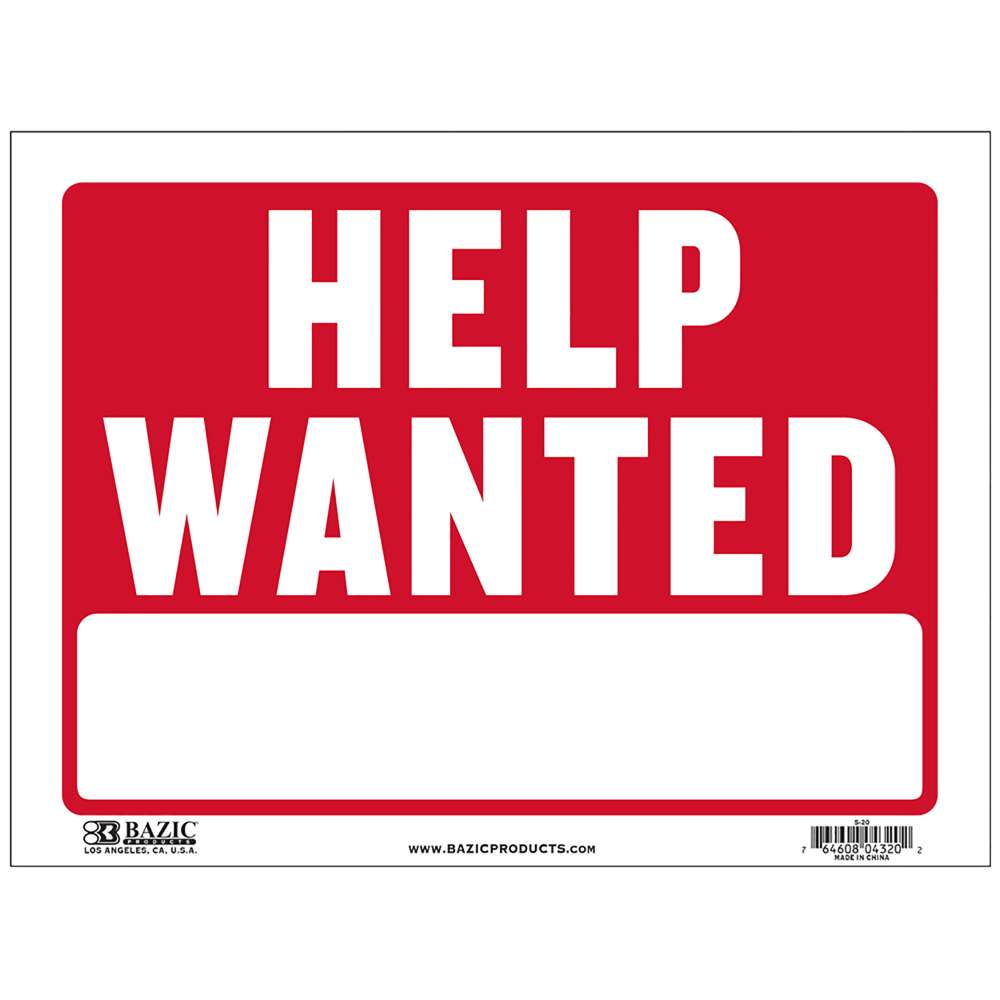 "9"" X 12"" Help Wanted Sign - Bazicstore"