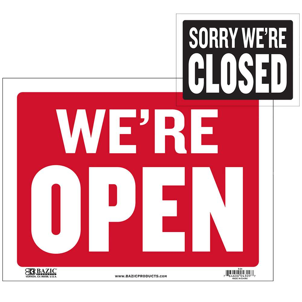 "BAZIC 9"" X 12"" Open Sign w/ Closed Sign on Back"