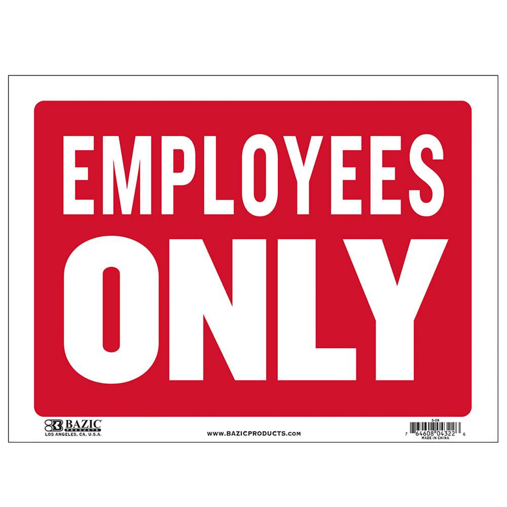 "9"" X 12"" Employees Only Sign - Bazicstore"