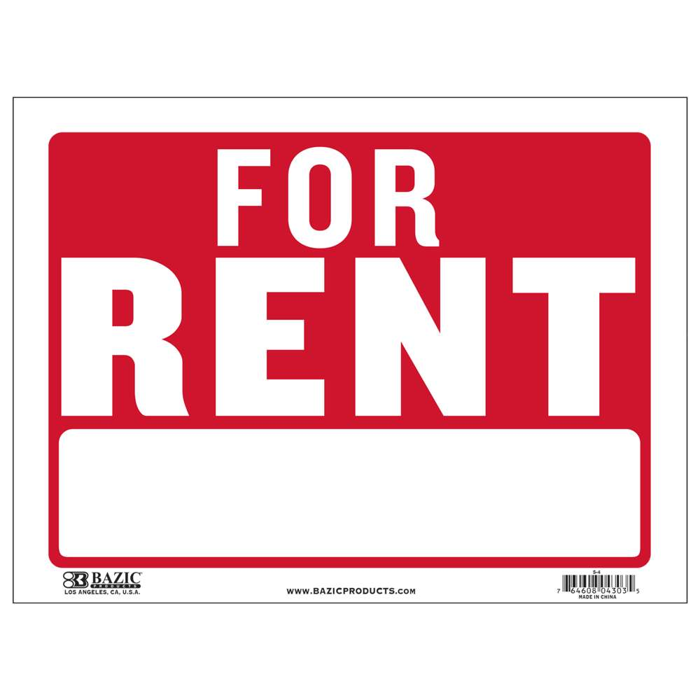 "BAZIC 9"" X 12"" For Rent Sign"