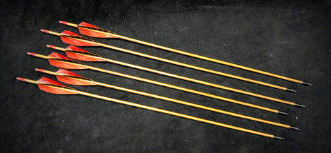"Hand Fletched Target Point Arrows - Red (45 - 50# @ 31"") (Set of 6)"