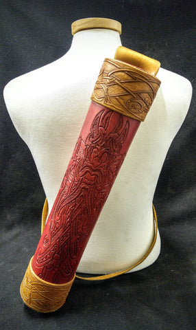 Custom -  Viking Red & Yellow Themed Leather Back Quiver