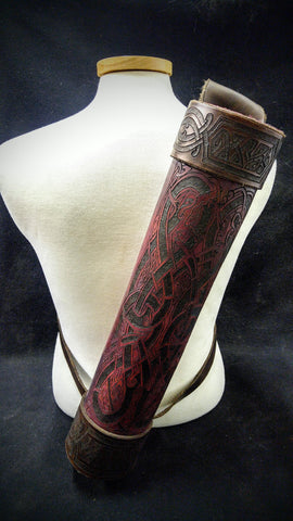 Custom -  Viking Oxblood Themed Leather Back Quiver