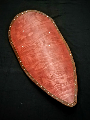 Norman Kite Shield - Stained With Leather Tacked Edge