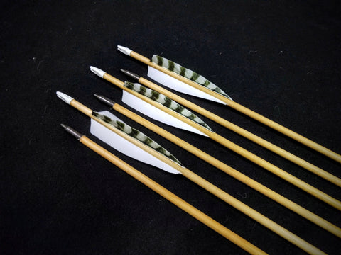 "Hand Fletched Target Point Arrows - Natural (45 - 50# @ 31"") (Set of 6)"