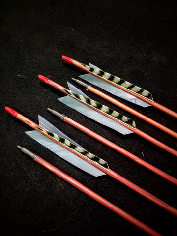 "Hand Fletched Target Point Arrows - Red / Grey (30 - 35# @ 29"") (Set of 6)"