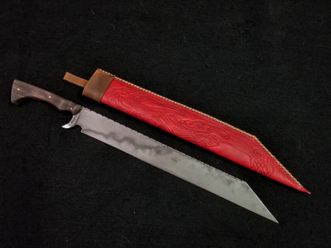Custom - Large File Work Seax, w/ Red Tooled Leather Sheath