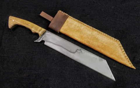 Custom - Seax Knife w/ African Hard Wood Handle with Sheath