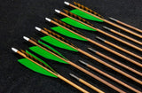 "Hand Fletched Target Point Arrows - Green / Brown Barred (30 - 35# @ 31"") (Set of 12)"