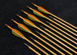 "Hand Fletched Target Point Arrows - Green / Orange (40 - 45# @ 31"") (Set of 12)"