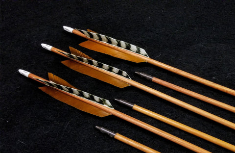 "Hand Fletched Target Point Arrows - Brown / Barred (45 - 50# @ 31"") (Set of 6)"