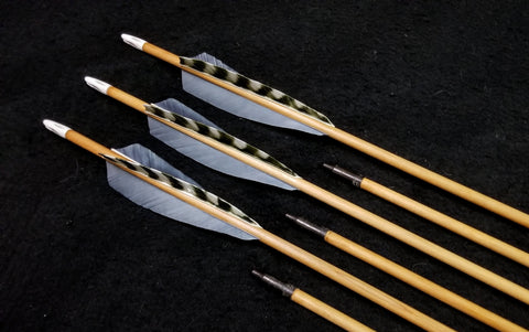 "Hand Fletched Target Point Arrows - Grey / Barred (30 - 35# @ 31"") (Set of 6)"