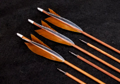 "Hand Fletched Target Point Arrows - Brown / Grey (30 - 35# @ 31"") (Set of 6)"