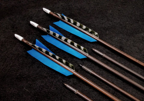 "Hand Fletched Target Point Arrows - Blue / Barred (45 - 50# @ 31"") (Set of 6)"