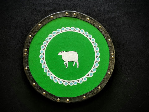Custom - Targe Shield - Green Scottish Sheep