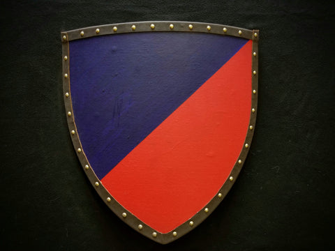 Painted - Heater Shield (Small) - Red & Blue - Bend Sinister