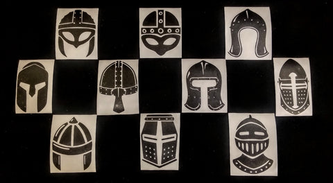 Sticker Set - 10 pc Medieval Helmets