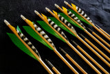 "Hand Fletched Target Point Arrows - Green / Yellow & Barred (40 - 45# @ 31"") (Set of 12)"